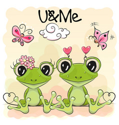 two cute frog vector image