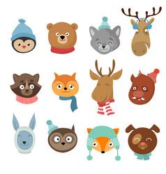 Winter xmas happy animals cartoon characters vector