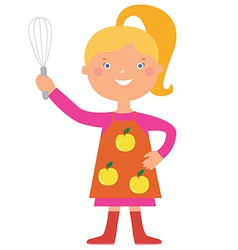 Cute girl cook character vector