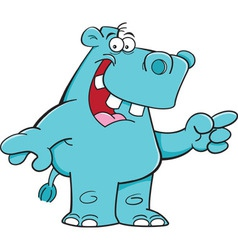 Cartoon hippo pointing vector
