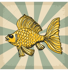 Vintage grunge background with goldfish vector