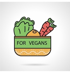 Vegetable bowl flat color icon vector
