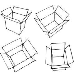 Hand drawn open white boxes on white vector