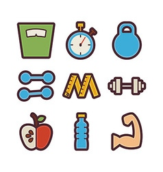 Fitness and dieting items modern flat icons set vector