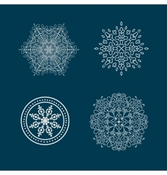 Set of round calligraphic patterns or snowflakes vector