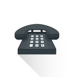 Flat style retro black landline buttons phone icon vector
