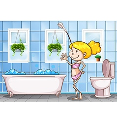 Girl standing in the bathroom vector