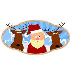Santa and two reindeer vector