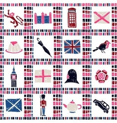Plaid fabric seamless pattern big english set vector