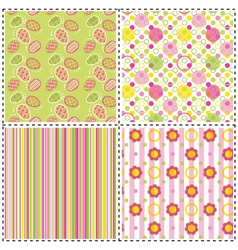 Set of patterns with flower stripe and shape vector