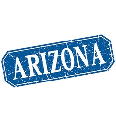 Arizona blue square grunge retro style sign vector
