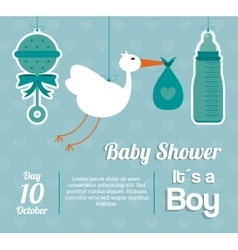 Baby shower design maraca stork and bottle icon vector