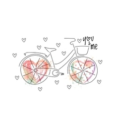 Bicycle with ombre hearts vector