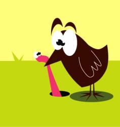 Bird and worm vector