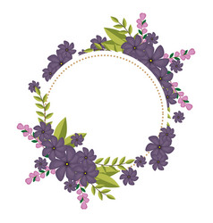 circular frame with violet floral bouquet and vector image
