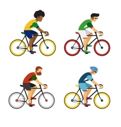 Cycling sport bicycle men icons set road bike vector image vector image