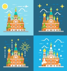 Flat design of church of the savior on blood russi vector