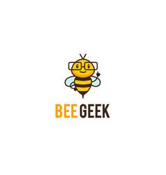 geek bee mascot logo vector image vector image