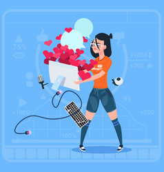 Girl blogger hold computer with many likes modern vector