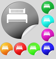 Hotel bed icon sign Set of eight multi colored vector image