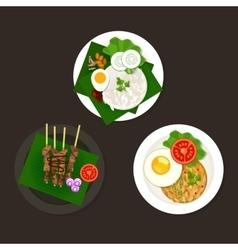 Indonesian malaysian food nasi goreng lemak sate vector