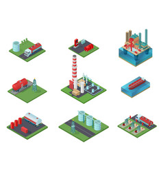 isometric oil industry set vector image vector image