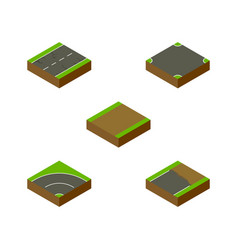 Isometric road set of cracks unfinished bitumen vector