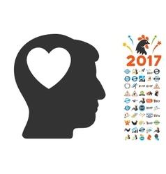 Love heart think icon with 2017 year bonus vector