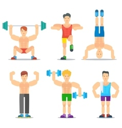 Men fitness cartoon icons collection vector