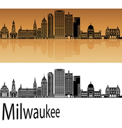 Milwaukee skyline in orange vector image vector image