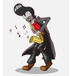 Monster in Halloween night skeleton play saxophone vector image