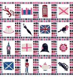 Plaid fabric seamless pattern big english set vector