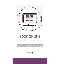 Reading book online internet library banner vector