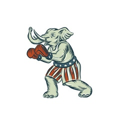 Republican elephant boxer mascot isolated etching vector