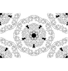Seamless round star lace ornamental pattern vector