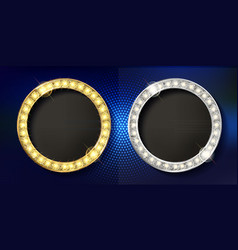 Set of gold with silver frame round vector