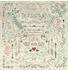 Sketched rustic floral design elements on crumpled vector
