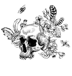 Skull flowers day of the dead black and white vector