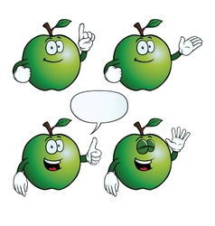 Smiling apple set vector image