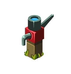 Vintage water pump isometric garden landscaping vector