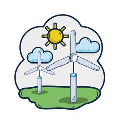 Windpower industries to healp the environment vector