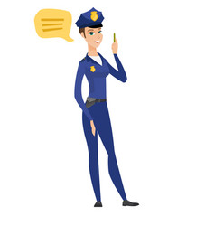 Young caucasian policewoman with speech bubble vector