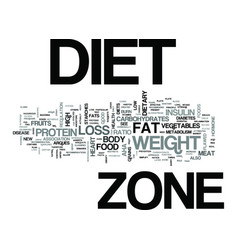 zone diet a new weight loss system text word vector image vector image