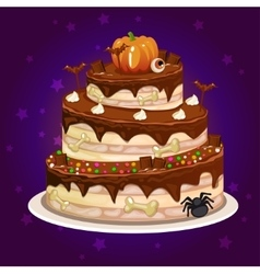 cartoon chocolate and a big cake for Halloween vector image