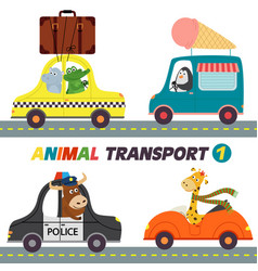 Set of isolated transports with animals part 1 vector