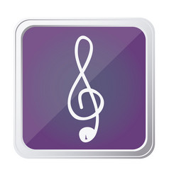 Button of sign music treble clef with background vector