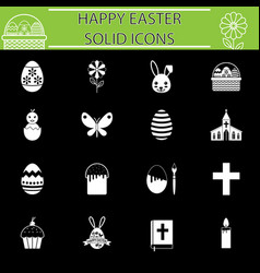 Happy easter solid icon set vector