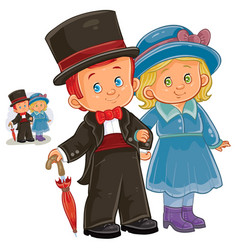 A little boy and girl vector