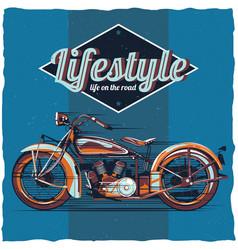 motorcycle t-shirt label design vector image