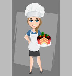 Chef woman with tasty sweet cake cute cartoon vector